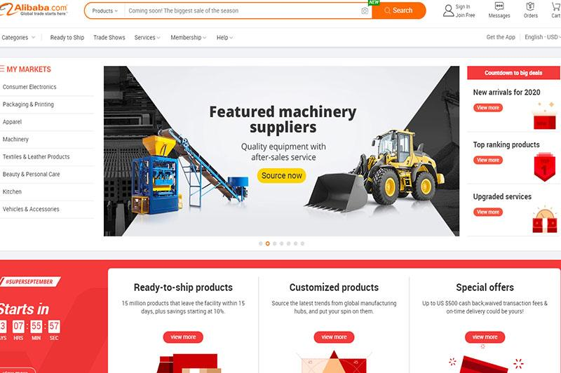 alibaba.com thuộc tập đoàn alibaba trung quốc chuyên bán buôn, sỉ những mặt hàng nội địa cho người ngoại quốc